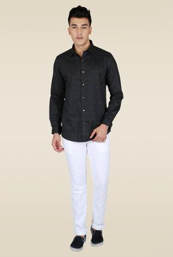 Lawman Black Printed Party Shirt