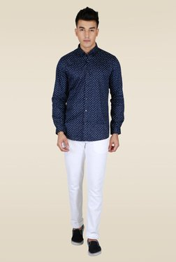 Lawman Navy Slim Fit Full Sleeve Shirt