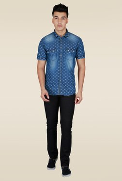 Lawman Blue Half Sleeve Cotton Casual Shirt