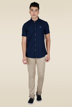 Lawman Navy Solid Half Sleeve Shirt
