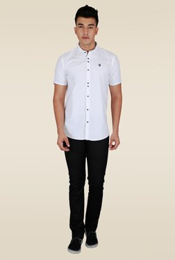 Lawman White Solid Half Sleeve Shirt