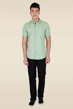 Lawman Green Half Sleeve Party Shirt