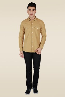 Lawman Khaki Solid Full Sleeve Shirt