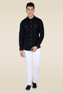 Lawman Navy Solid Full Sleeve Shirt