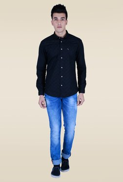 Lawman Black Printed Slim Fit Shirt