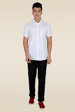 Lawman White Solid Half Sleeve Casual Shirt