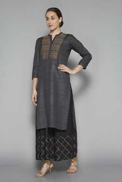 Zuba by Westside Grey Printed Kurta