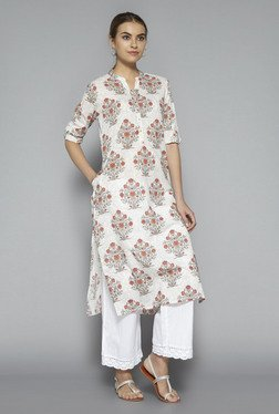 Utsa By Westside Off White Floral Print Kurta