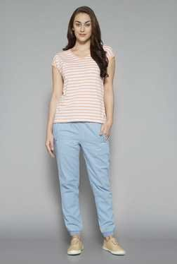 LOV By Westside Light Blue Mid Rise Joggers