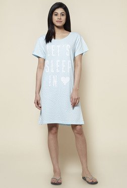 Zudio Sky Blue Cotton Jersey Short Nightdress