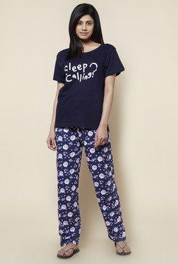 Zudio Navy Cotton Jersey Pyjama Set