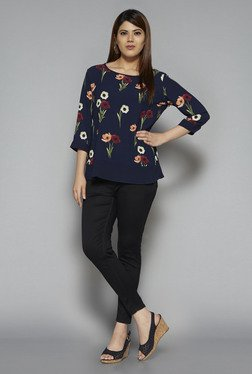 Gia by Westside Navy Pansy Blouse