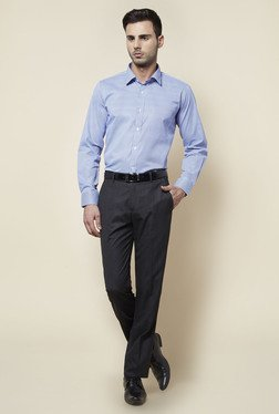 Zudio Grey Solid Slim Fit Trouser