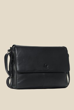 Leather Zentrum Black Leather Messenger Bag - Mp000000000616058