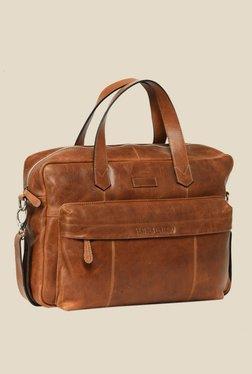 Leather Zentrum Tan Leather Messenger Bag - Mp000000000616077