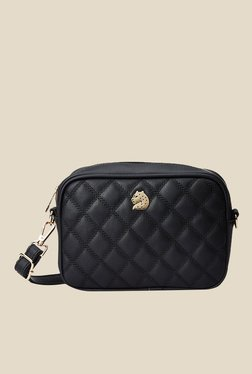 Covo Black Textured Sling Bag