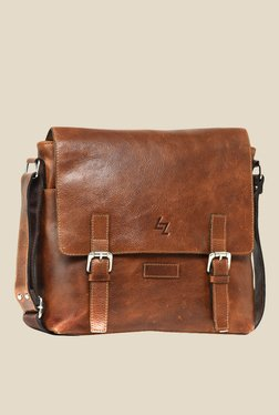 Leather Zentrum Brown Leather Messenger Bag - Mp000000000616106
