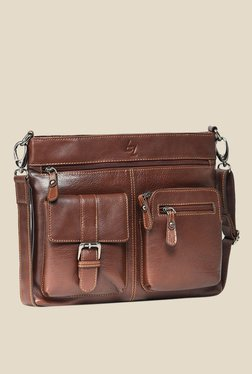 Leather Zentrum Brown Leather Messenger Bag