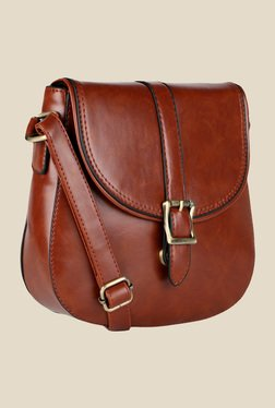 Lino Perros Brown Buckle Messenger Bag