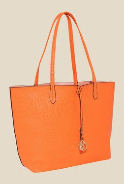Lino Perros Orange Tote Bag With Sling Bag