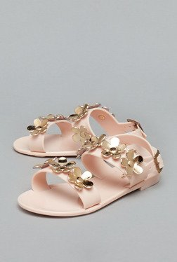 Westside Beige Flower Flat Ankle Strap Sandals
