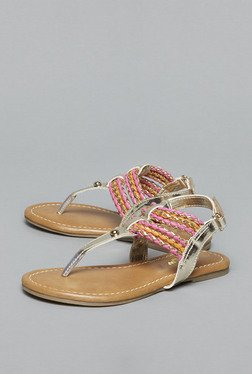 Westside Gold Flat Back Strap Sandals
