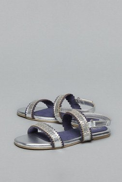 Westside Silver & Navy Flat Back Strap Sandals