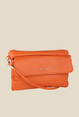 Lino Perros Orange Textured Sling Bag