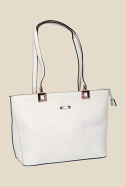 Esbeda White Synthetic Textured Shoulder Bag