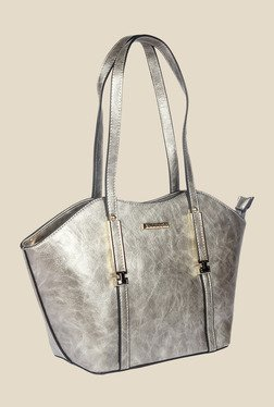 Esbeda Silver Synthetic Textured Shoulder Bag