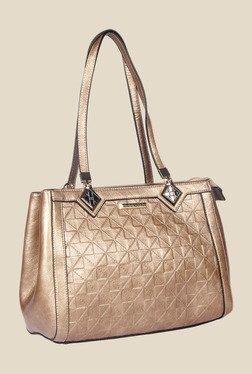 Esbeda Golden Synthetic Textured Shoulder Bag