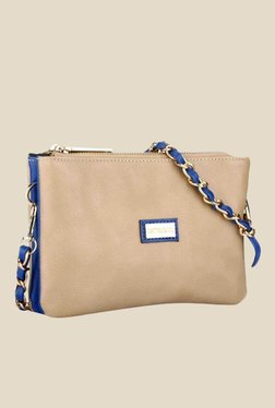 Satya Paul Beige Leather Sling Bag