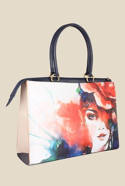 Zaera White Printed Shoulder Bag