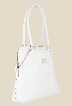 Zaera White Solid Shoulder Bag