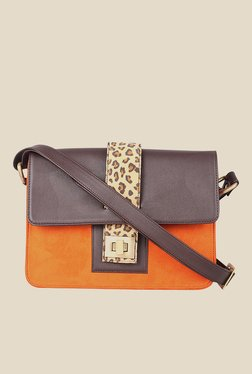 Zaera Orange Printed Sling Bag