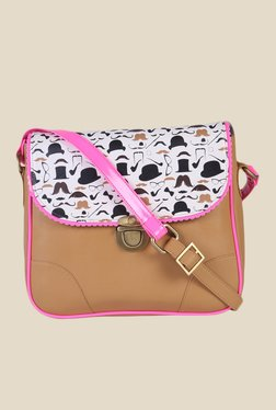 Zaera Tan Printed Sling Bag