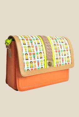 Zaera Orange Printed Sling Bag