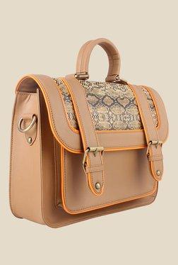 Zaera Tan Printed Satchel Bag