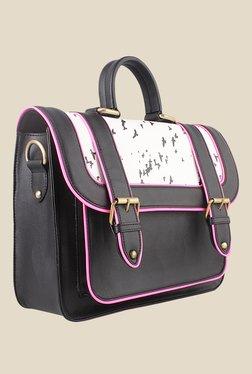 Zaera Black Printed Satchel Bag