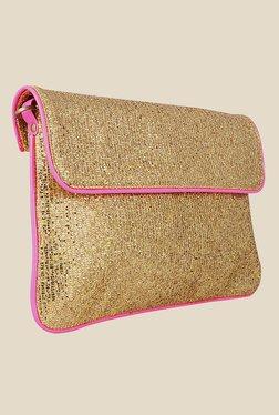 Zaera Golden Textured Clutch