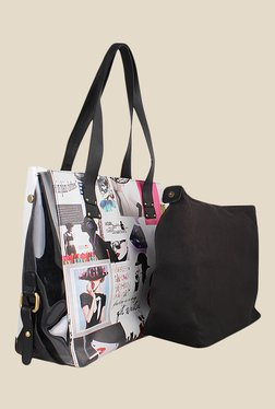 Zaera White Printed Tote Bag With Inner Pouch