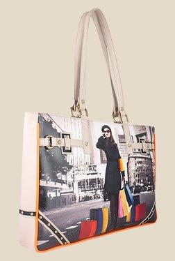 Zaera Beige & White Printed Tote Bag