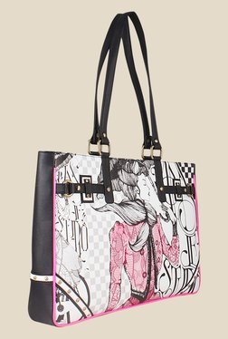 Zaera Black & White Printed Tote Bag