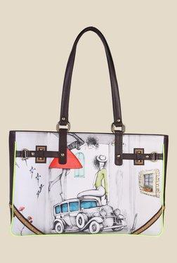 Zaera Brown & White Printed Tote Bag