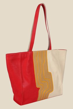 Zaera Red Textured Tote Bag