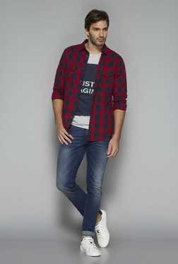 Nuon By Westside Red Checks Slim Fit Shirt