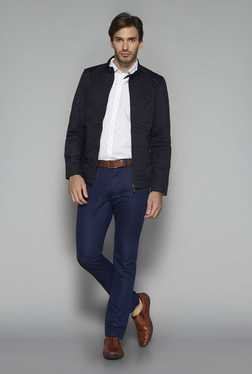 Ascot By Westside Navy Solid Slim Fit Trouser