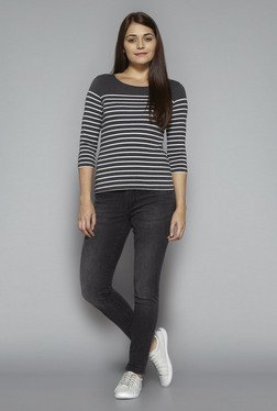 LOV by Westside Grey Striped Top