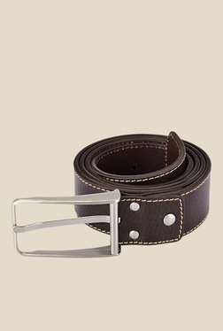 Park Avenue Brown Leather Textured Formal Belt - Mp000000000627238