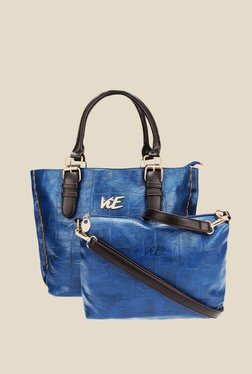 ViE Blue Textured Tote Bag - Pack Of 2